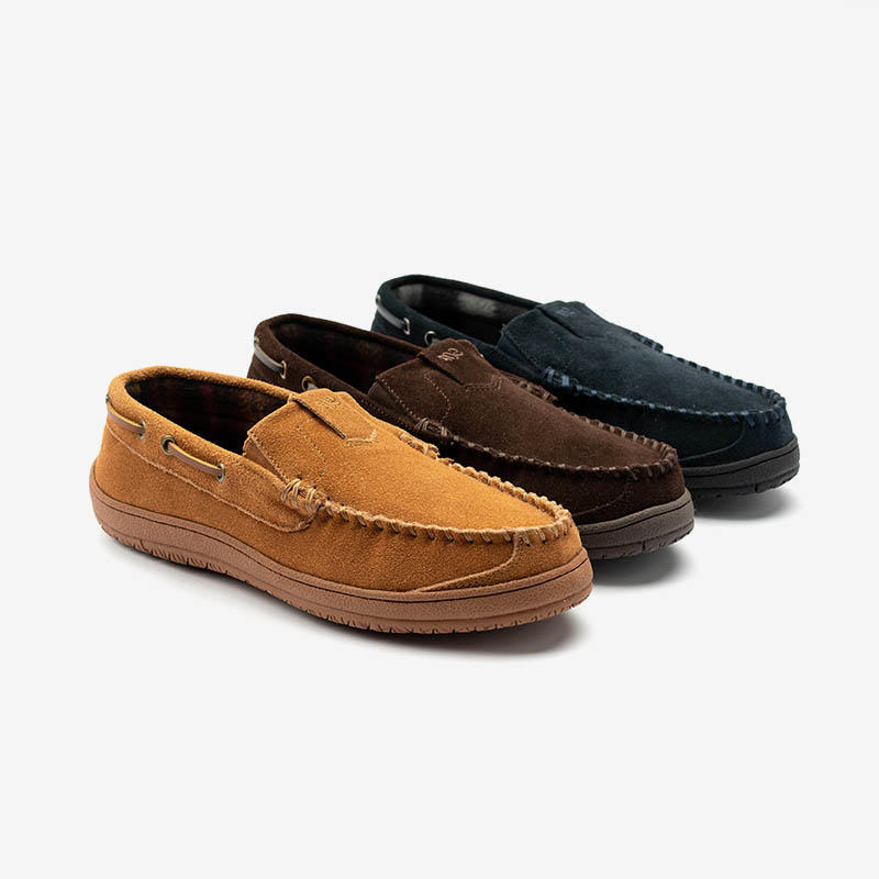 Mens Twin Gore Suede Moccasin Slipper Shoes