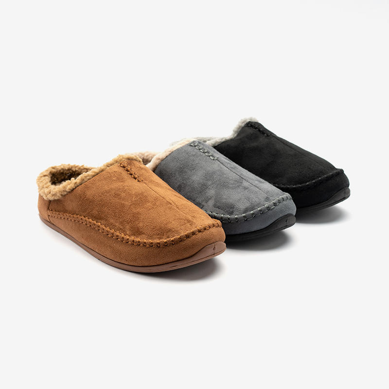 Mens Soft Fleece Lined Slip On Suede Mule Slippers
