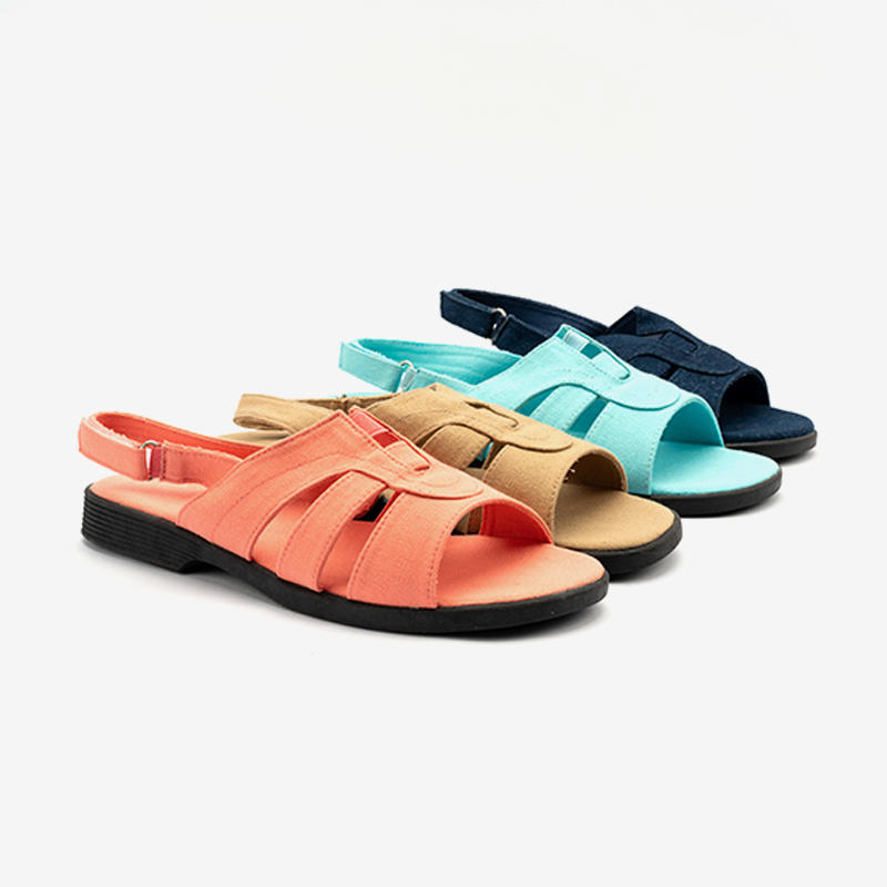 Canvas/Denim Center Gore Flat Sandals For Ladies