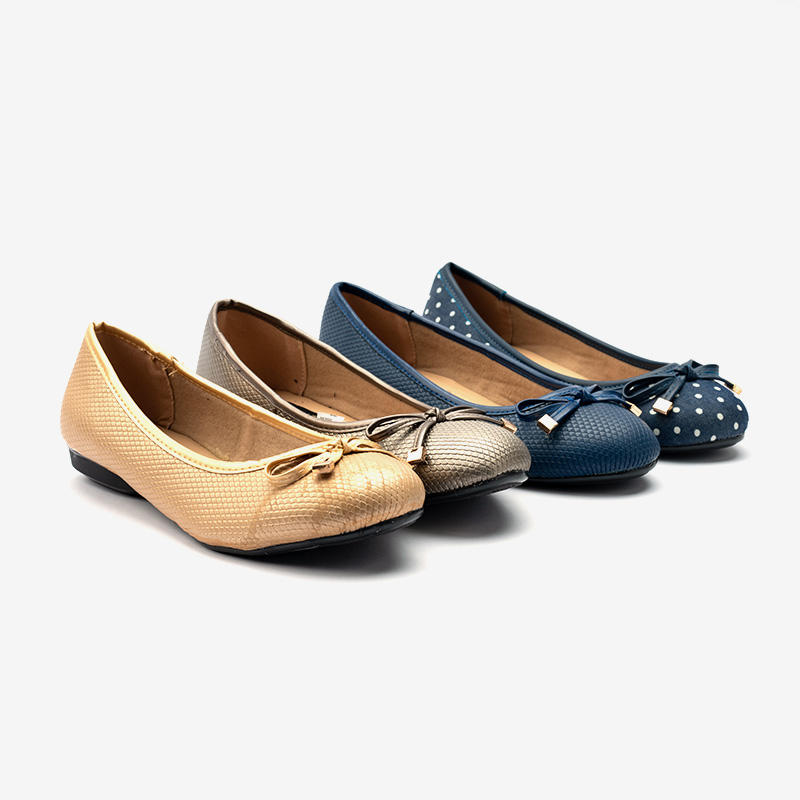 Breathable Patterned  Leather-like Upper Ballerina Flat Shoes With Bowknot