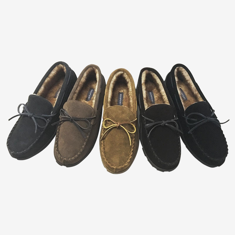 Cozy Plush Lined Suede Moccasin House Slippers 71RQ670048