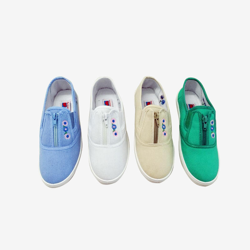 Breathable Canvas Slip On Zip-up Sneaker With Sunflower Embroidery